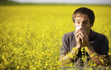 Man suffering from pollen allergy